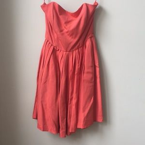 Anthropologie Anabel Coral Strapless Pleated Dress